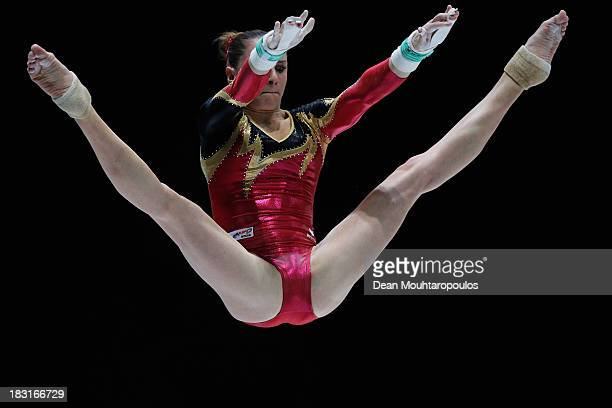 Sophie Scheder of Germany competes in the Uneven Bars Final on Day Six of the Artistic Gymnastics World Championships Belgium 2013 held at the...