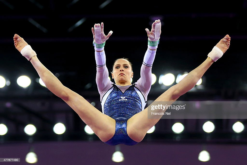 Sophie Scheder of Germany competes in the Women's Uneven Bars final on day eight of the Baku 2015 European Games at the National Gymnastics Arena on...
