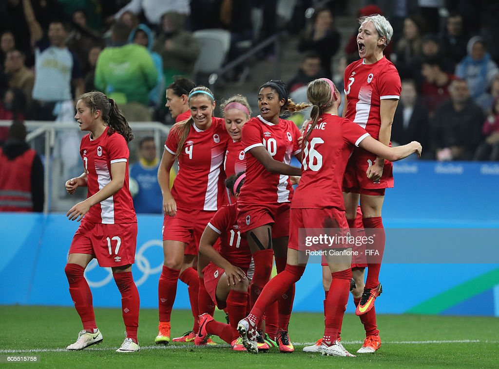Sophie Schmidt of Canada celebrates after scoring a goal during the Women's Football Quarter Final match between Canada and France on Day 7 of the Rio 2016 Olympic Games at Arena Corinthians on August 12, 2016 in Sao Paulo, Brazil.