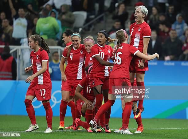 Sophie Schmidt of Canada celebrates after scoring a goal during the Women's Football Quarter Final match between Canada and France on Day 7 of the...