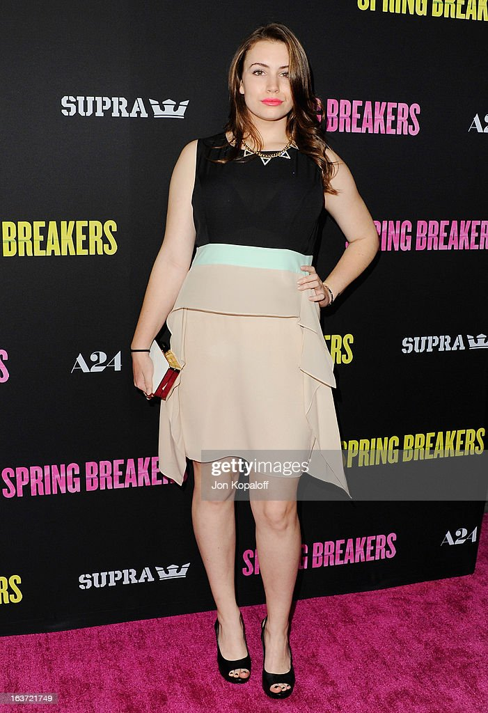 Sophie Simmons arrives at the Los Angeles Premiere 'Spring Breakers' at ArcLight Hollywood on March 14, 2013 in Hollywood, California.