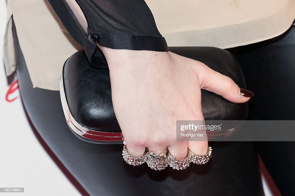 Sophie Simmons (clutch detail) attends the 'Gimme Shelter' Los Angeles Premiere at the Egyptian Theatre on January 14, 2014 in Hollywood, California.