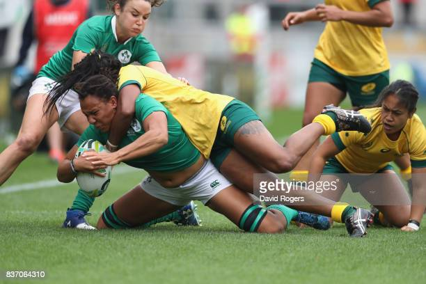 Sophie Spence of Ireland is tackled by Mahalia Murphy during the Women's Rugby World Cup 2017 match between Ireland and Australia at the Kingspan...