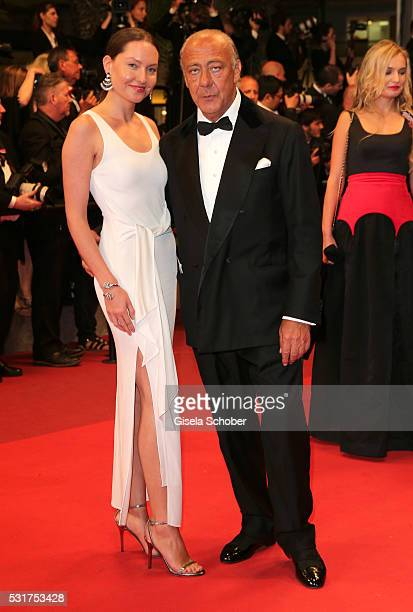 Sophie Taylor and Fawaz Gruosi attend the 'Hands Of Stone' premiere during the 69th annual Cannes Film Festival at the Palais des Festivals on May 16...