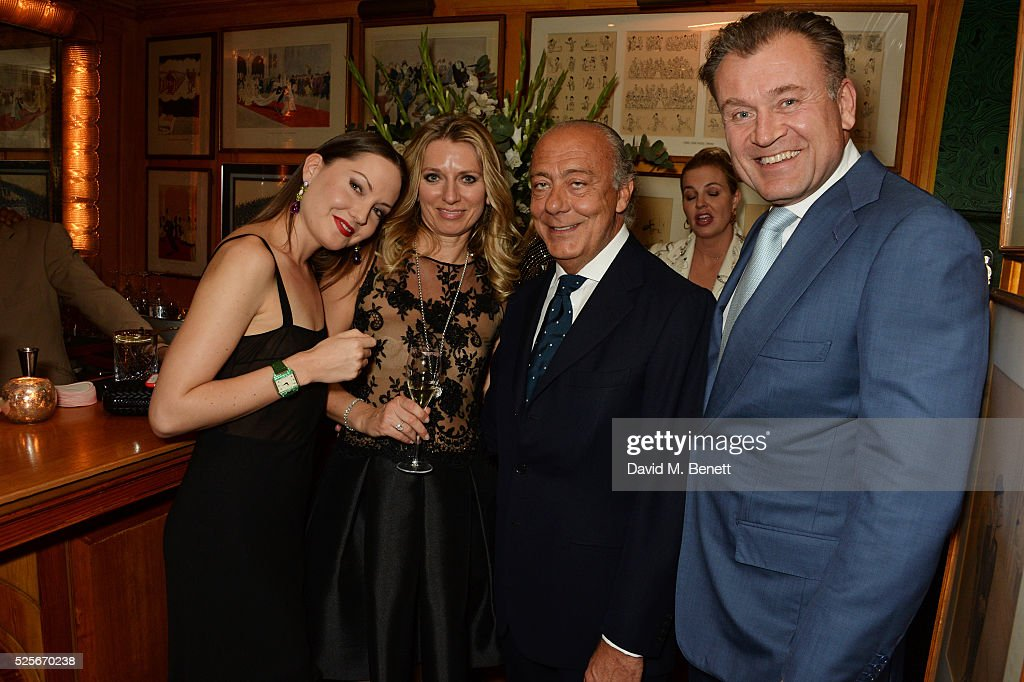 Sophie Taylor, Nicole Hummel, Fawaz Gruosi and Klaas Hummel attend a private dinner hosted by Fawaz Gruosi, founder of de Grisogono, at Annabels on April 28, 2016 in London, England.