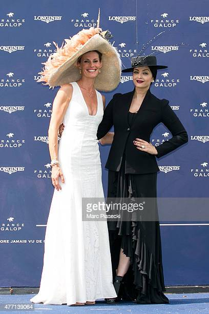 Sophie Thalmann and actress Aishwarya Rai attend the 'Prix de Diane Longines 2015' at Hippodrome de Chantilly on June 14 2015 in Chantilly France