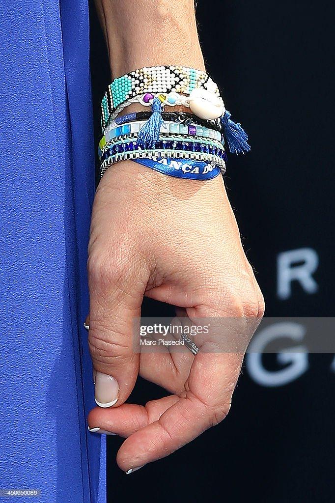 Sophie Thalmann (bracelet detail) attends the 'Prix de Diane Longines 2014' at Hippodrome de Chantilly on June 15, 2014 in Chantilly, France.