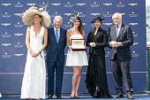 Sophie Thalmann Bertrand Belinguier Sandra Challal Aishwarya Rai and Walter Von Kanel attend the 'Prix de Diane 2015' at Hippodrome de Chantilly on...