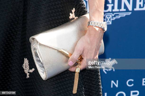 Sophie Thalmann clutch bag detail attends the 'Prix de Diane Longines 2017' on June 18 2017 in Chantilly France