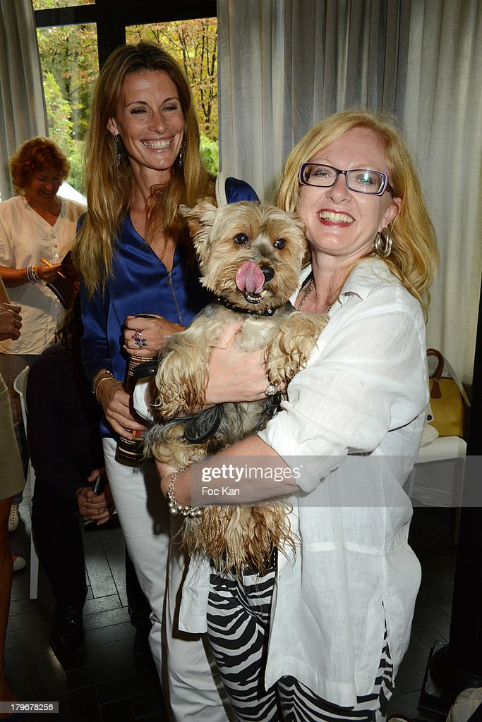 Sophie Thalmann, Florence Batisse Pichet and her dog Voltaire attend the Duo Delice Dog Food Launch Party at 6 Mandel on September 6, 2013 in Paris, France.
