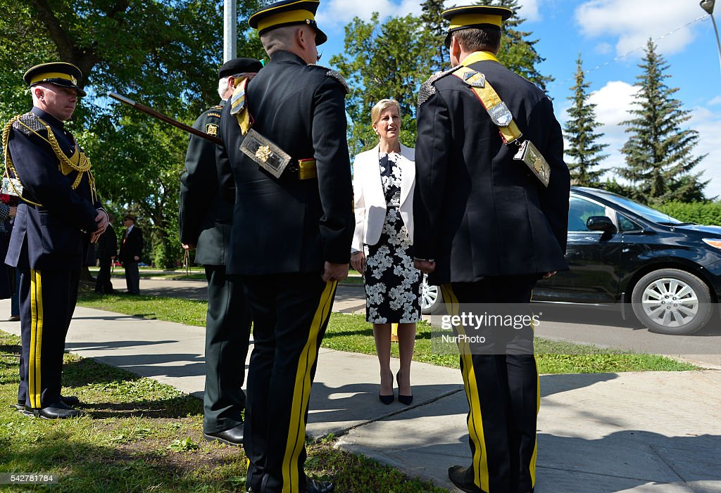 Sophie, the Countess of Wessex, attends the opening of Light Horse Park in Old Strathcoma, as she stops in Edmonton ahead of her visit to fire-damaged Fort McMurray. On Wednesday, 24 June 2016, in Edmonton, Canada.