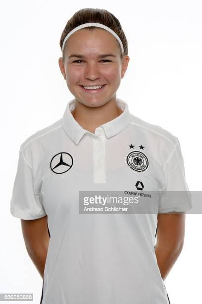Sophie Trepohl poses during Germany U17 Girl's Team Presentation on August 20 2017 in Gruenberg Germany