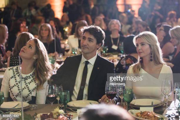 Sophie Trudeau Canada's First Lady left Justin Trudeau Canada's Prime Minister center and Ivanka Trump assistant to US President Donald Trump right...