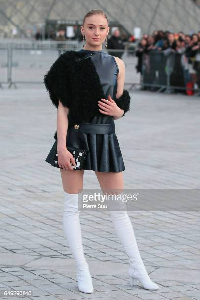 Sophie Turner arrives at the Louis Vuitton show as part of the Paris Fashion Week Womenswear Fall/Winter 2017/2018 on March 7 2017 in Paris France