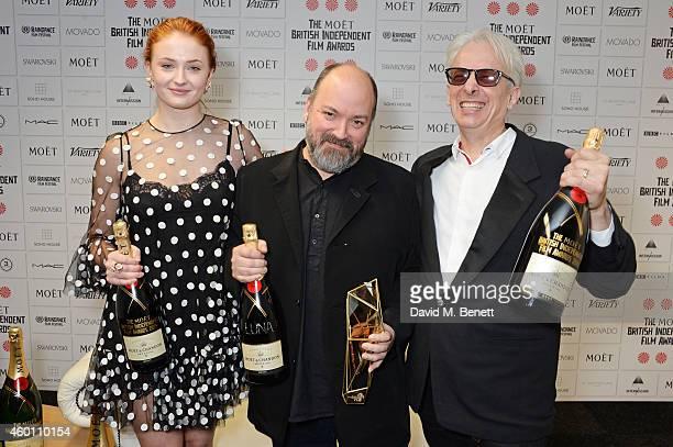 Sophie Turner Dave McKean winner of The Raindance Award for Luna and Elliot Grove pose at The Moet British Independent Film Awards 2014 at Old...