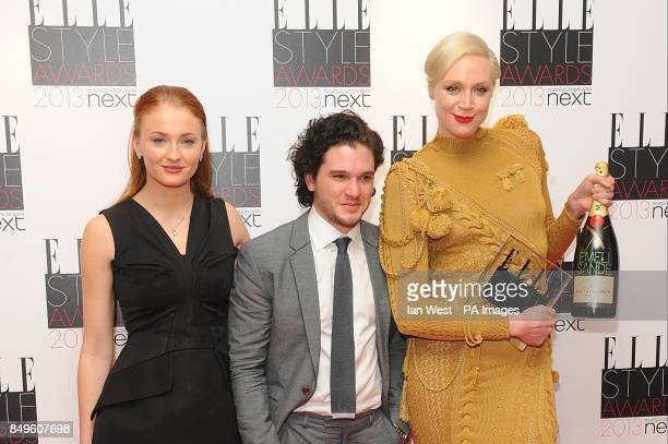 Sophie Turner Gwendoline Christie and Kit Harington accept the Best TV Show winner for Game of Thrones at the 2013 Elle Style Awards at The Savoy...