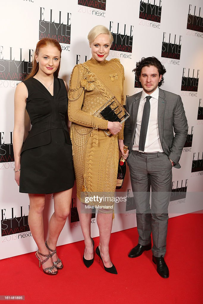 Sophie Turner, Gwendoline Christie and Kit Harington pose in the press room at the Elle Style Awards at The Savoy Hotel on February 11, 2013 in London, England.