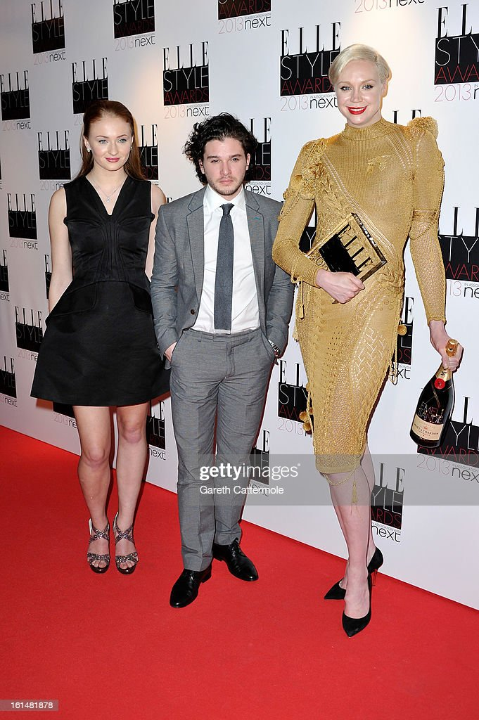 Sophie Turner, Kit Harington and Gwendoline Christie pose with the award for Best TV Show for Game of Thrones in the press room during the Elle Style Awards at The Savoy Hotel on February 11, 2013 in London, England.
