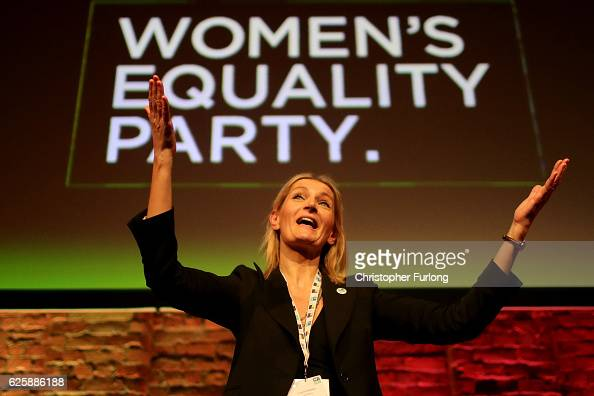 Sophie Walker leader of the Women's Equality Party appluads delegates after her keynote speech during the party's first ever annual conference at...