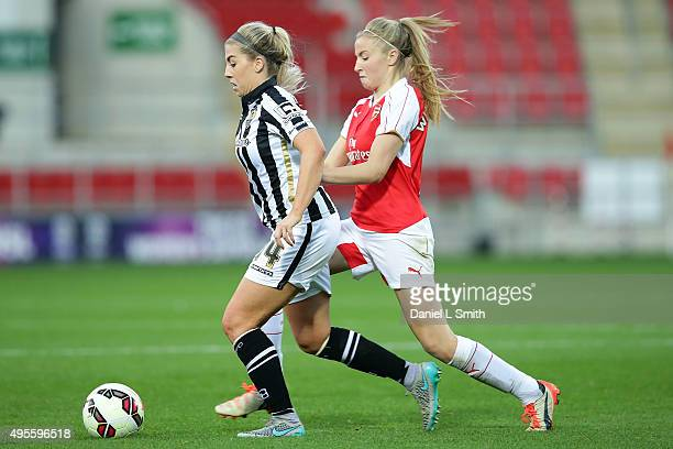 Sophie Walton of Notts Ladies County FC maintains control over Leah Williamson of Arsenal Ladies FC during the WSL Continental Cup Final between...