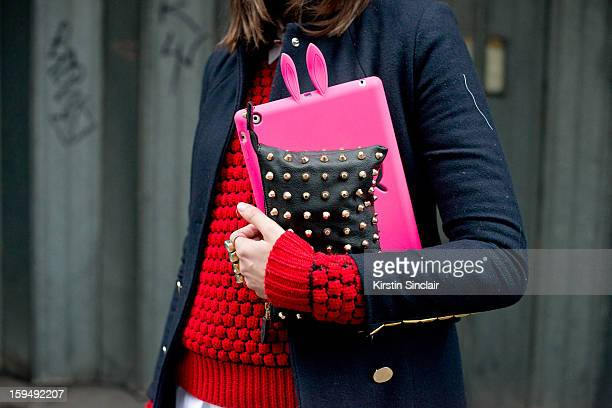 Sophie Warburton Fashion Assistant at The Telegraph wearing a Marc by Marc Jacobs Hat and Ipad case Shirt from E bay Markus Lupfer Jumper Wonderland...