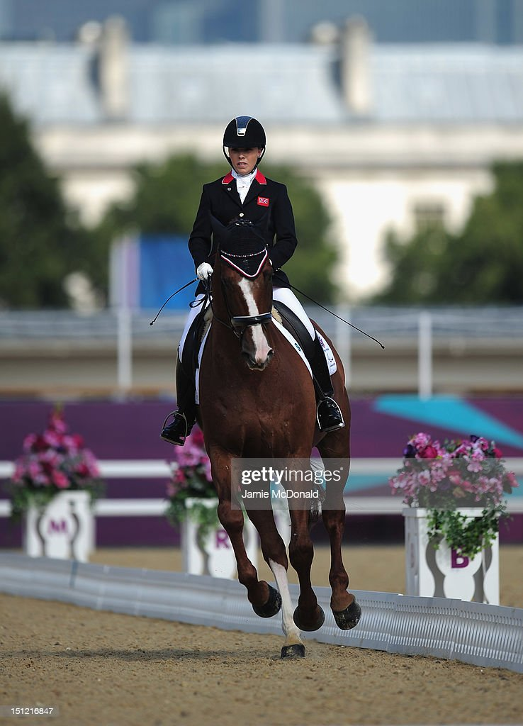 Sophie Wells of Great Britain rides Pinocchio to win Silver during the Equestrian Dressage Individual Freestyle Test - Grade IV on day 6 of the London 2012 Paralympic Games at Greenwich Park on September 4, 2012 in London, England.