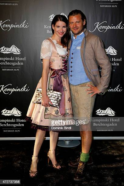 Sophie Wepper and David Meister during the Kempinski Hotel Berchtesgaden opening party on May 8 2015 in Berchtesgaden Germany