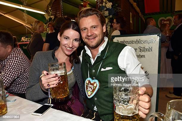 Sophie Wepper and her boyfriend David Meister attend the BMW Armbrustschiessen at ArmbrustSchuetzenfesthalle during the Oktoberfest 2015 at...