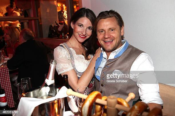 Sophie Wepper and her boyfriend David Meister during the Weisswurstparty at Hotel Stanglwirt on January 23 2015 in Going Austria