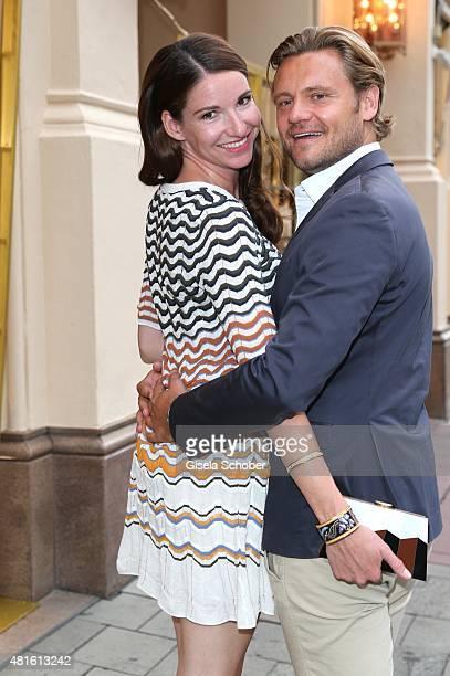 Sophie Wepper and her boyfriend David Meister during the Eclat Dore summer party at Hotel Vier Jahreszeiten on July 22 2015 in Munich Germany