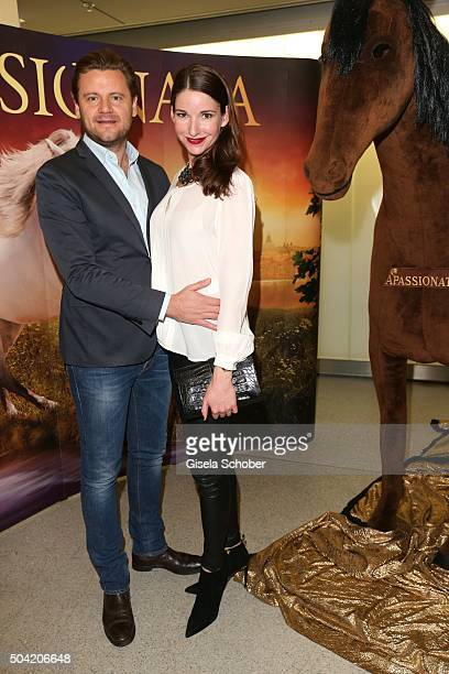 Sophie Wepper and her fiance David Meister during the 'APASSIONATA Im Bann des Spiegels' VIP reception at Olympiahalle on January 9 2016 in Munich...
