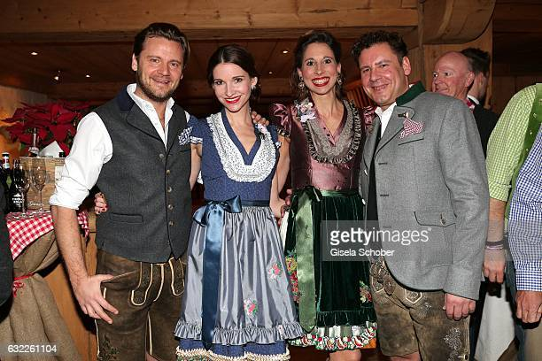 Sophie Wepper and her husband David Meister and dirndl designer Lola Paltinger and her boyfriend Andreas Meister during the Weisswurstparty at Hotel...