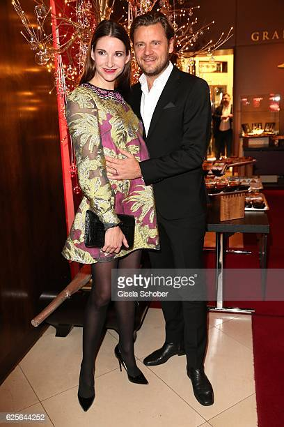 Sophie Wepper and her husband David Meister during the christmas party at Hotel Vier Jahreszeiten Kempinski on November 24 2016 in Munich Germany