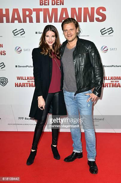 Sophie Wepper and her husband David Meister during the 'Willkommen bei den Hartmanns' premiere at Mathaeser Filmpalast on October 25 2016 in Munich...