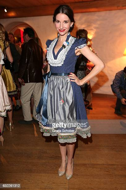 Sophie Wepper wearing a dirndl by Lola Paltinger during the Weisswurstparty at Hotel Stanglwirt on January 20 2017 in Going near Kitzbuehel Austria