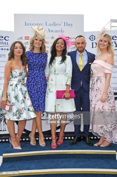 Sophie Wood Charlotte Hawkins Style Award winner Abigail Scott Mark Heyes and Alexandra Wilby attend Ladies Day of the 2017 Investec Derby Festival...