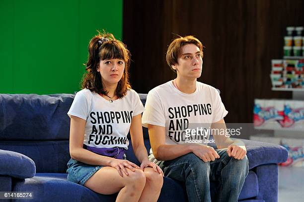 Sophie Wu as LuLu and Alex Arnold as Robbie in Mark Ravenhill's Shopping And Fucking directed by Sean Holmes at the Lyric Theatre Hammersmith on...