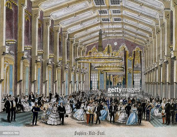 SophienBadSaal a court ball in the Hofburg Palace in Vienna engraving Austria 19th century Detail