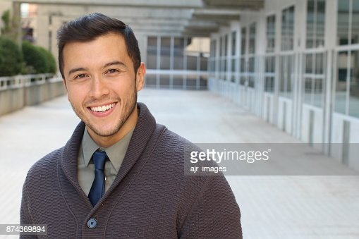 Sophisticated ethnic male isolated with copy space : Stock Photo