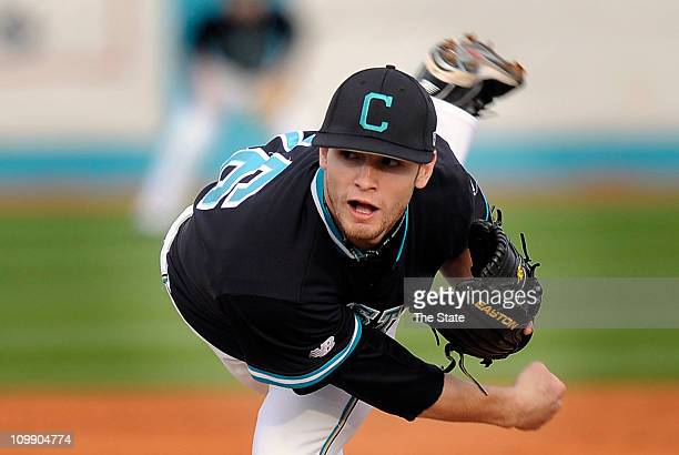 Sophomore pitcher Josh Conway works against Wake Forest in Conway South Carolina on Wednesday March 9 2011 Coastal Carolina ripped Wake Forest 102 as...