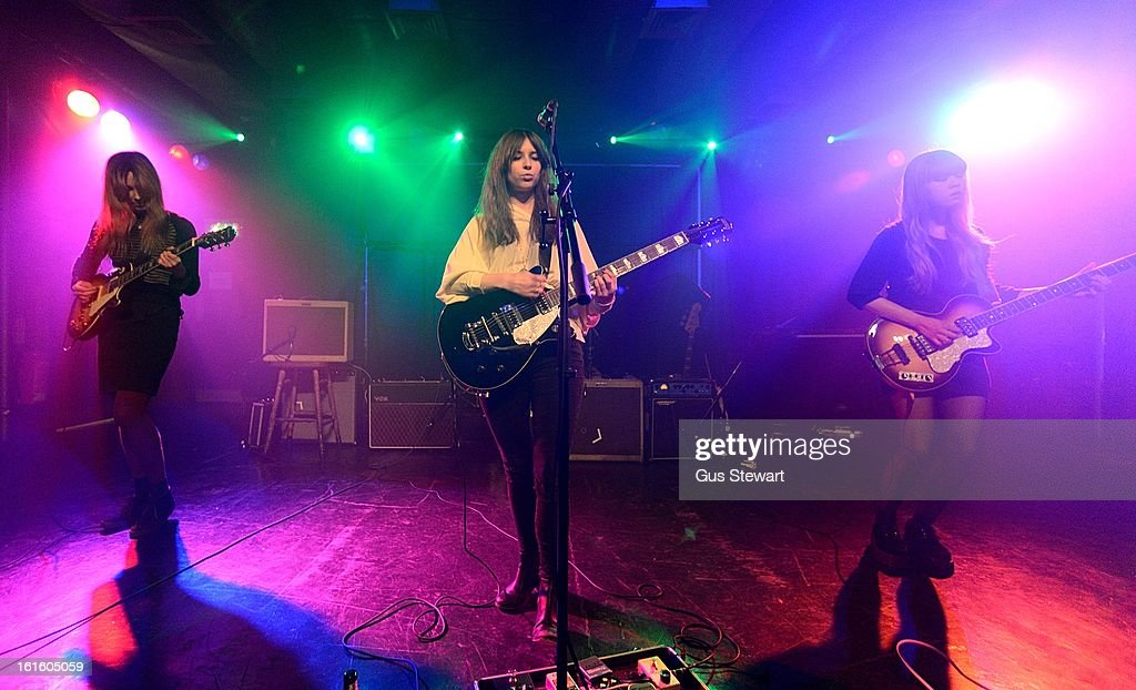 Sophy Hollington, Hollie Warren and Suki Su of Novella perform on stage as part of the NME Awards series of concerts at Scala on February 12, 2013 in London, England.