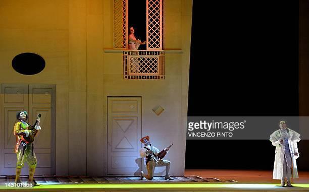 Soprano Annalisa Stroppa as Rosina Argentine tenor Juan Francisco Gatell as ComteAlmaviva and Baritone Alessandro Luongo as Figaro perform during the...