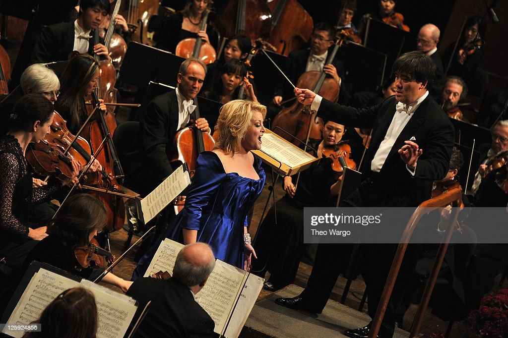 Soprano Deborah Voigt and New York Philharmonic music director Alan Gilbert performance during the New York Philharmonic 170th Season Opening Night Gala at Avery Fisher Hall at Lincoln Center for the Performing Arts on September 21, 2011 in New York City.