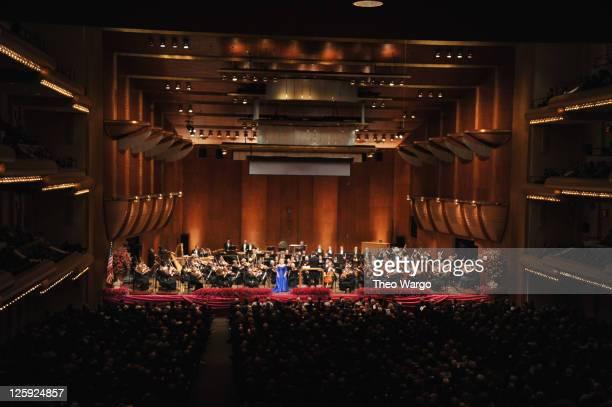 Soprano Deborah Voigt and New York Philharmonic music director Alan Gilbert performance during the New York Philharmonic 170th Season Opening Night...