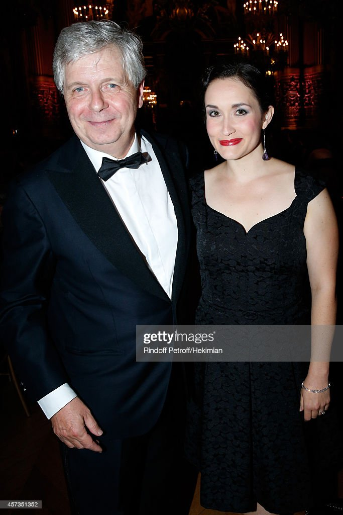 Soprano Erin Morley (R) and Director of the National Opera Stephane Lissner (L) attend the AROP Charity Gala with Opera 'L'enlevement au Serail' from Mozart at Opera Garnier on October 16, 2014 in Paris, France.