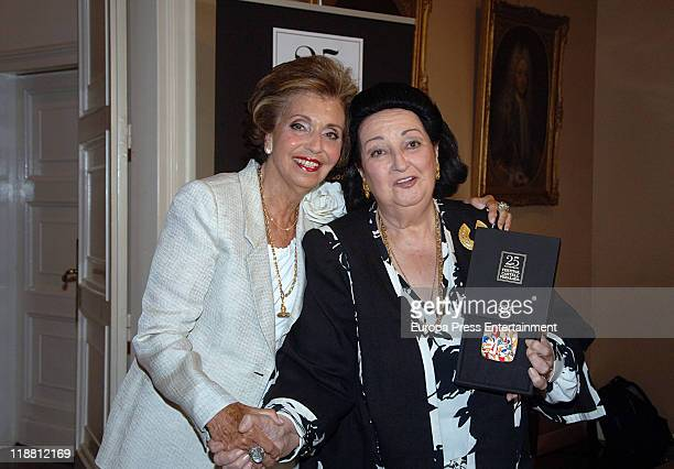 Soprano Montserrat Caballe who receives the Golden Medal of 25th Music Festival of Peralada poses with Carmen Mateu de Suque on July 11 2011 in...