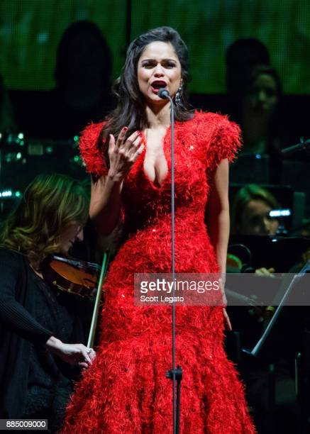 Soprano opera singer Larissa Martinez performs with the Detroit Symphony Orchestra at Little Caesars Arena on December 3 2017 in Detroit Michigan