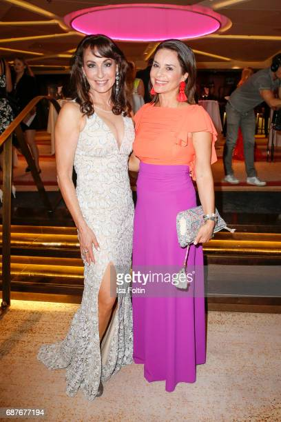 Soprano singer Anna Maria Kaufmann and model Gitta Saxx during the Kempinski Fashion Dinner on May 23 2017 in Munich Germany