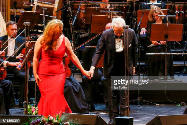 Soprano singer Elena Stikhina and tenor Jose Carreras perfom on stage during the Thurn Taxis Castle Festival 2017 on July 23 2017 in Regensburg...