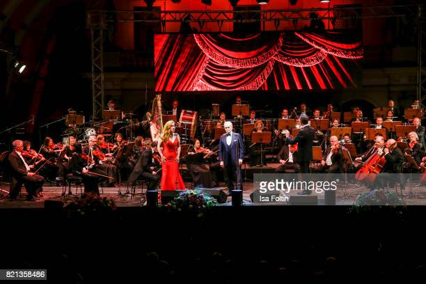 Soprano singer Elena Stikhina tenor Jose Carreras and conductor David Gimenez perfom on stage during the Thurn Taxis Castle Festival 2017 on July 23...